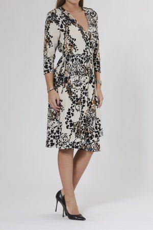 PBO GROUP – Slå om kjole med leopard print
