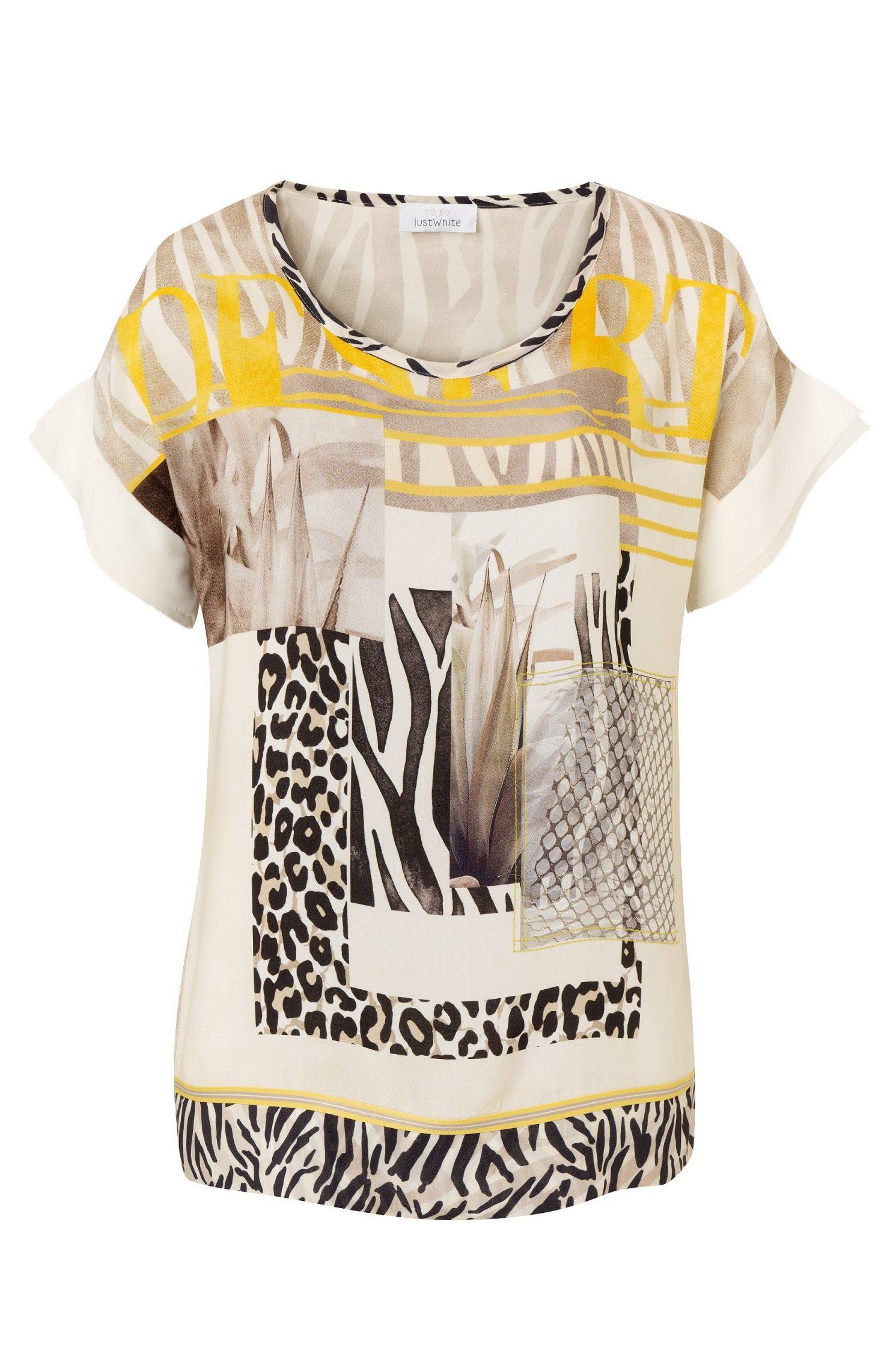 JUST WHITE – Bluse med print