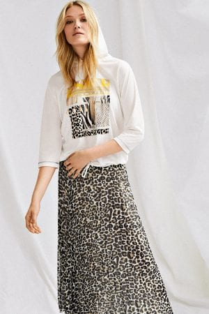 "JUST WHITE – Nederdel i plice ""leopard print"""
