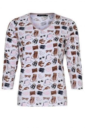 MICHA – T-shirts med glimmerkant og print