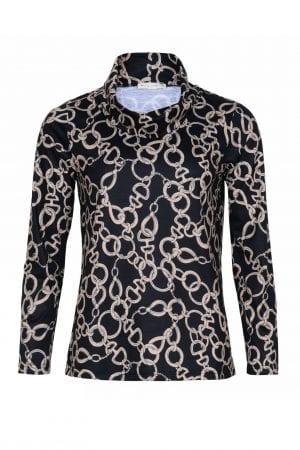 MICHA – Bluse med rullekrave og print.