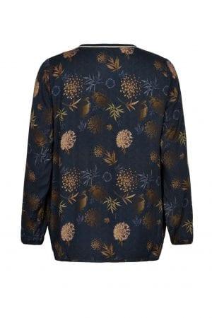 IN FRONT – Bluse med print i gyldne farver