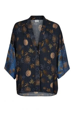 IN FRONT – Kimono med print i gyldne farver